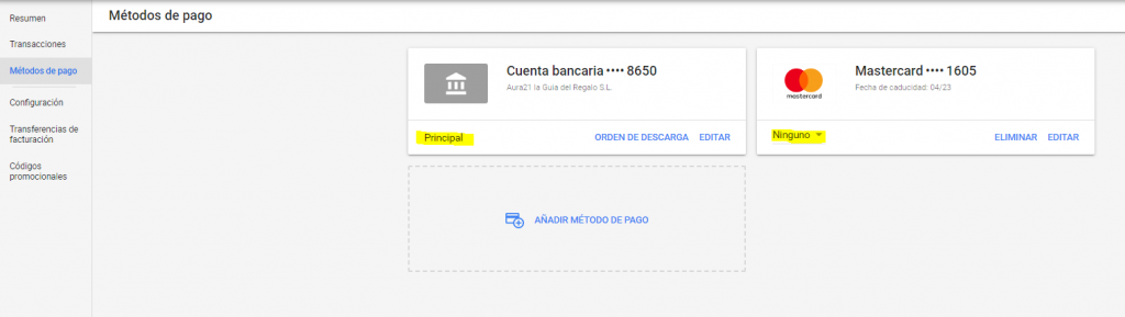 Añadir métodos de pago en Google Ads