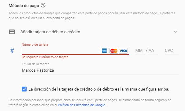 Añadir una tarjeta para pagar los anuncios de Google