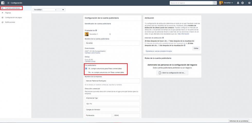 Configurar un perfil de pagos en Facebook Ads