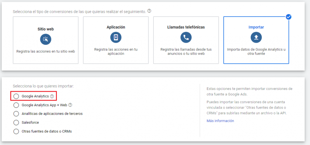 Importar conversiones de Analytics en Google Ads