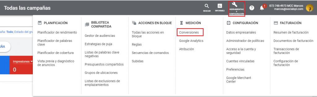Crear conversiones en Google Ads