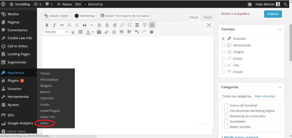 Editar archivo header.php en WordPress