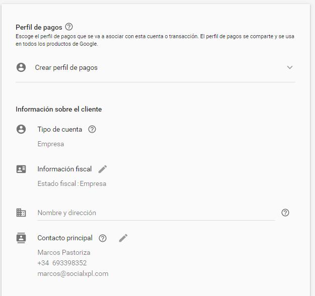 Configurar un perfil de pagos en Google Ads