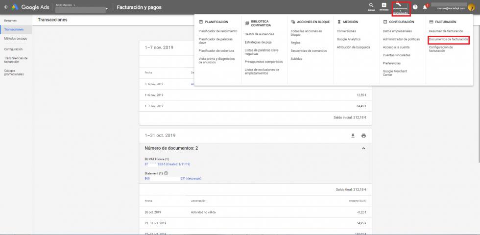 Acceder a la facturación en Google Ads IVA