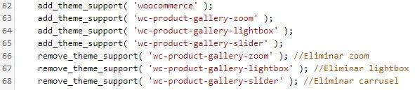 Eliminar zoom, lightbox y carrusel en producto Woocommerce con código