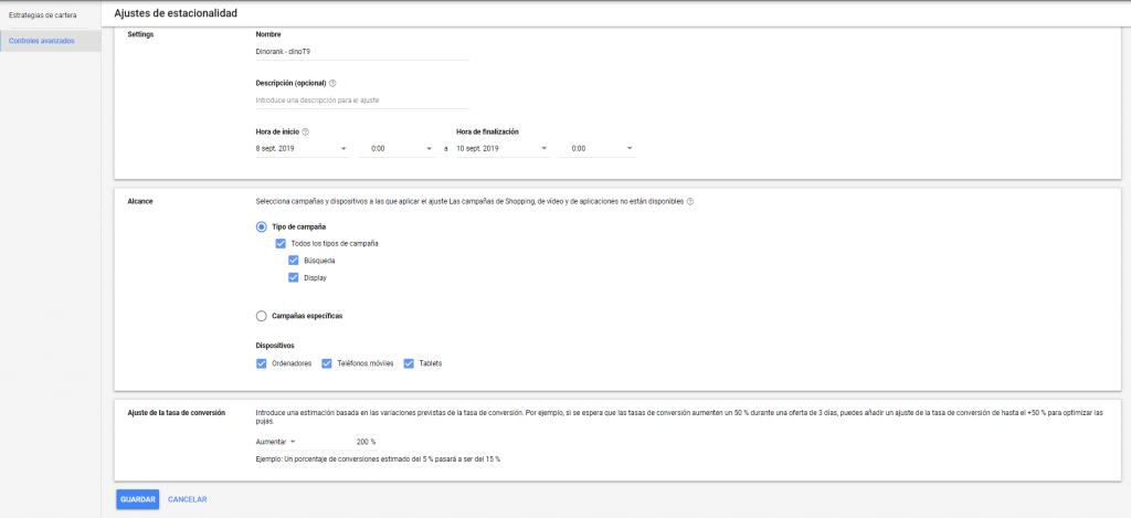 Configurar ajuste de estacionalidad en Google Ads