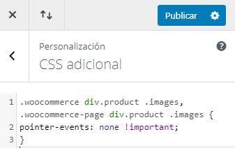Desactivar hover y apertura imagen producto