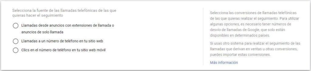 Conversiones de llamada en Google Ads