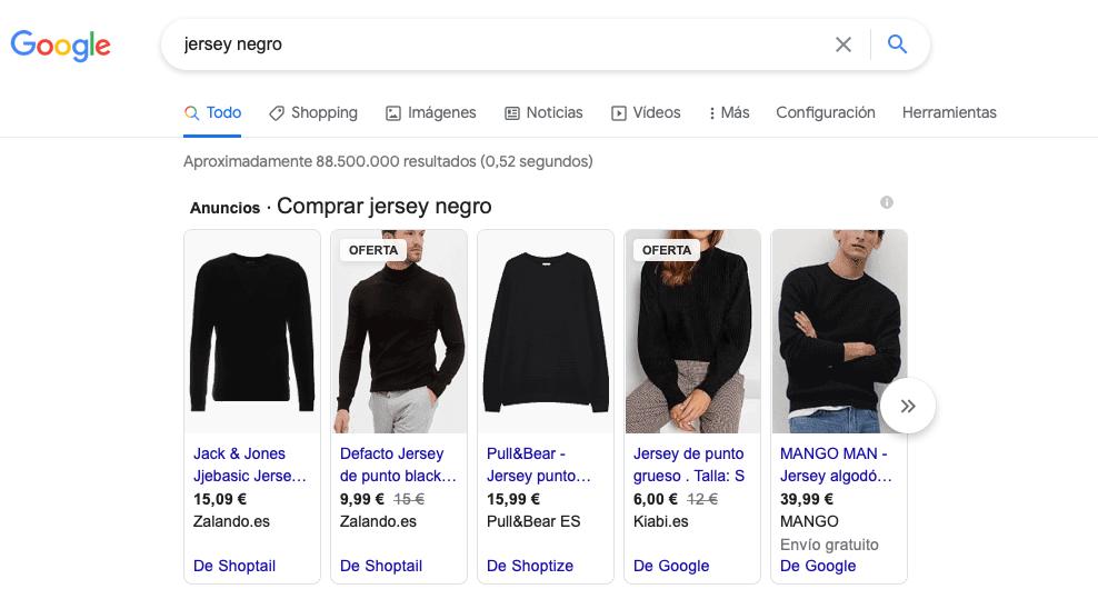 Ejemplo anuncios Google Shopping