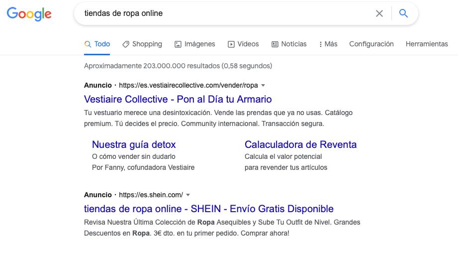 Ejemplo anuncios Google Palabras clave o búsquedas